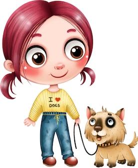 Cute girl with a dog on a leash