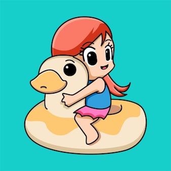 Cute girl with duck swim ring cartoon illustration