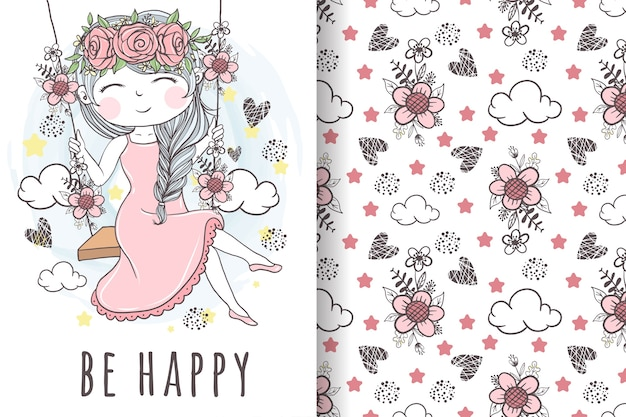 Cute girl with flower wreath playing on wooden swing seamless pattern