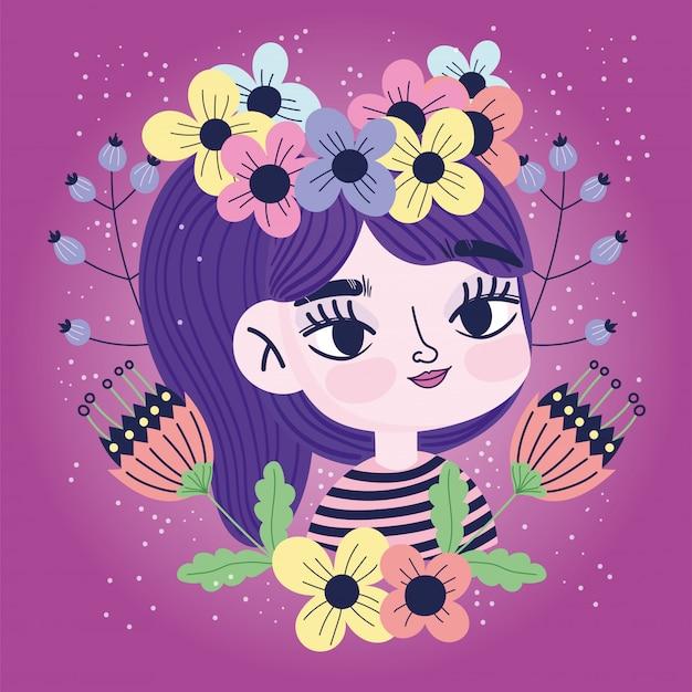Милая девушка с цветами в голове