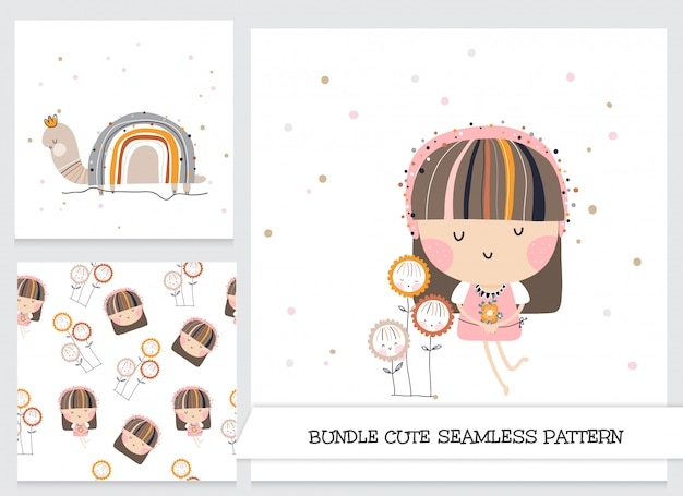 Cute girl with flowers and snail stationery set