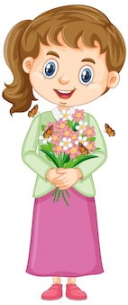 Cute girl with flowers on white