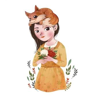 Cute girl with fox