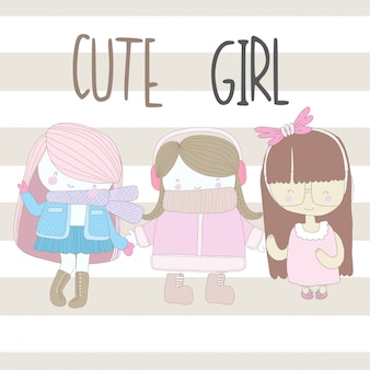 Cute girl with friends illustration for kid