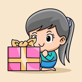 Милая девушка с иллюстрацией шаржа подарочной коробки