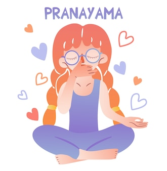 A cute girl with glasses and pigtails sits in a lotus position and does breathing practice. lettering pranayama. fingers folded in mudra. meditative isolated character for illustrating yoga.