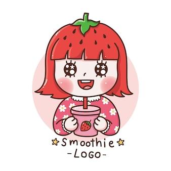 イチゴのスムージー漫画の手描きのスムージーのロゴを飲む髪のイチゴとかわいい女の子