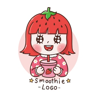 Cute girl with hair strawberry drinking a strawberry smoothie cartoon hand draw smoothie logo