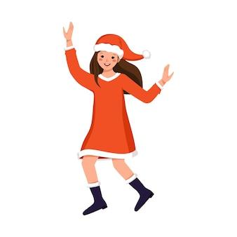 크리스마스 새 해를 위한 축제 산타클로스 또는 눈 처녀 의상을 입은 행복한 얼굴과 눈을 가진 귀여운 소녀...