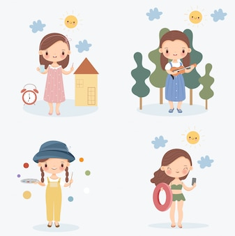 Cute girl with her daily life activities vector