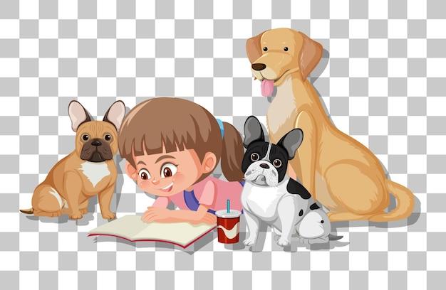 Милая девушка со своими собаками, изолированные на прозрачном фоне