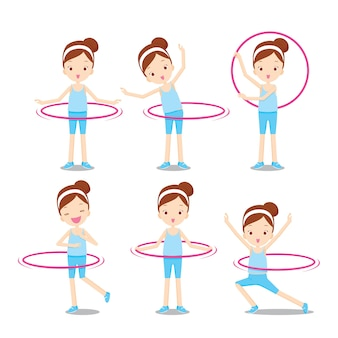 Cute girl with hula hoop twirling on her body actions set, activity for healthy