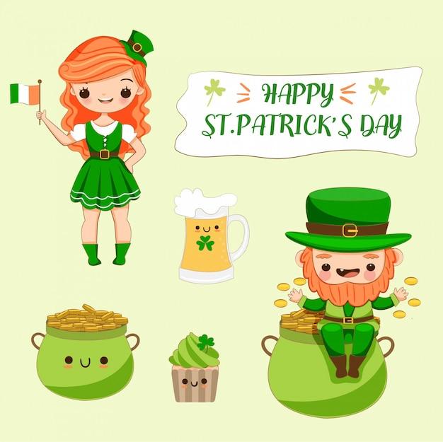 アイルランドの衣装と聖パトリック祭のさまざまな要素を持つかわいい女の子