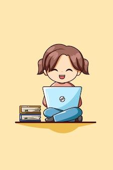 ノートパソコンと本の漫画イラストとかわいい女の子