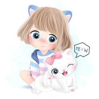 Cute girl with litter kitty illustration