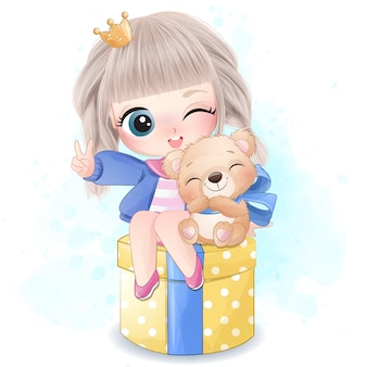 Cute girl with little bear illustration