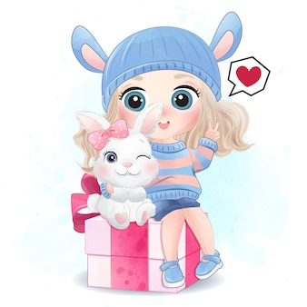 Cute girl with little bunny illustration