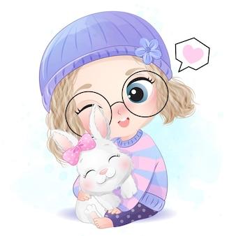 작은 토끼 일러스트와 함께 귀여운 소녀