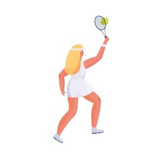 Милая девушка с длинными волосами в спортивной форме играет в теннис, в руках ракетки и теннисный мяч.