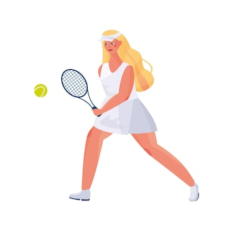 Cute girl with long hair in a sports uniform plays tennis, in the hands of rackets and a tennis ball.