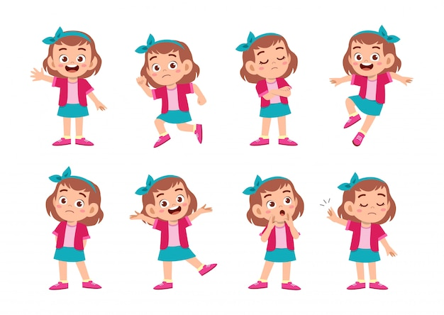 Cute girl with many gesture expressions