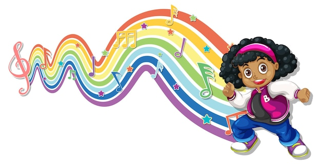 Cute girl with melody symbols on rainbow wave