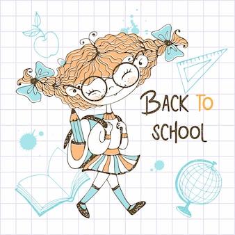 Милая девочка с косичками со школьным рюкзаком ходит в школу. обратно в школу.