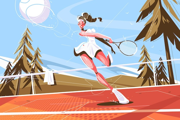 Cute girl with racquet vector illustration.
