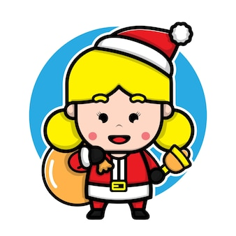 Cute girl with santa costume cartoon vector christmas concept illustration