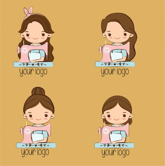 Cute girl with sewing machine cartoon for brand logo design