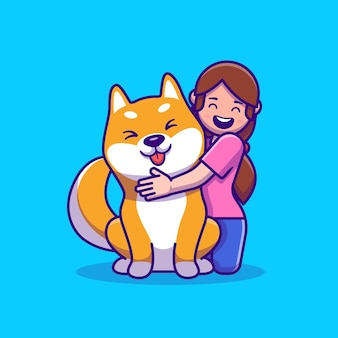 Cute girl with shiba inu dog cartoon illustration