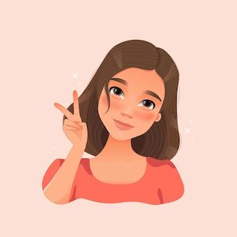 Милая девушка с короткими волосами показывает знак рукой