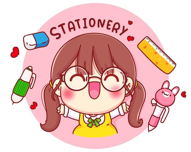 Cute girl with stationery cartoon character illustration