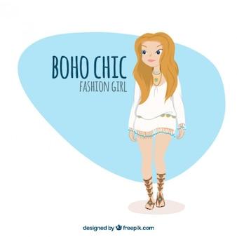 세련 된 boho 옷 귀여운 소녀