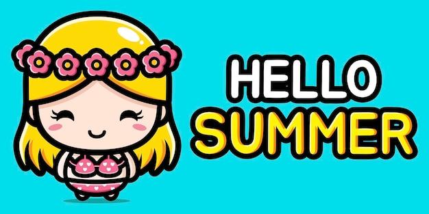여름 인사말 배너와 귀여운 소녀