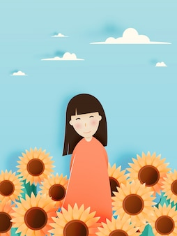 Cute girl with sunflower field in paper art style and pastel color scheme vector illustration