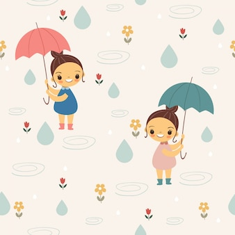 Cute girl with umbrella  under the rain seamless pattern