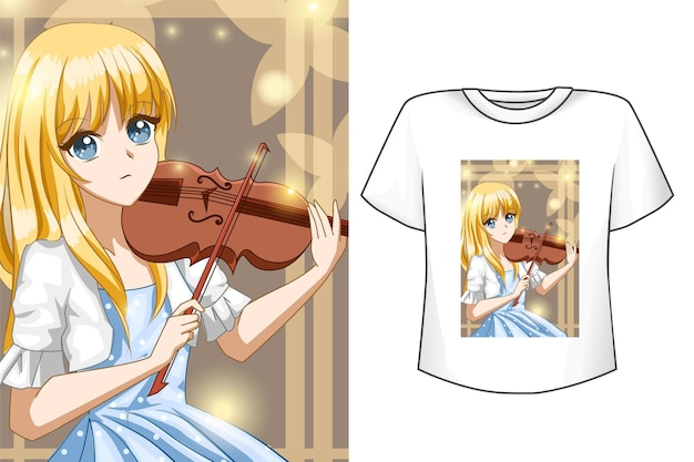 Cute girl with violin t-shirt