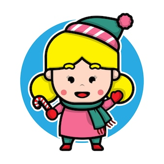 Cute girl with winter costume cartoon vector christmas concept illustration