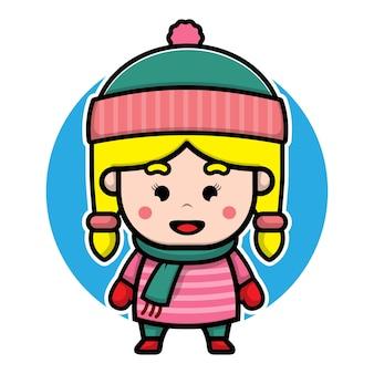Cute girl with winter costume cartoon vector