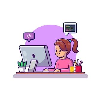 Милая девушка работает на компьютере мультфильм вектор значок иллюстрации. люди и технологии значок концепции изолированных премиум вектор. плоский мультяшный стиль