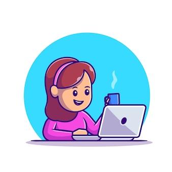 커피 컵 일러스트와 함께 노트북에서 일하는 귀여운 소녀