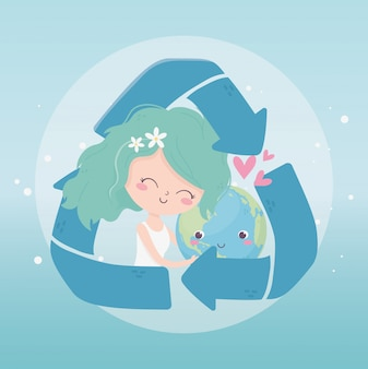 Cute girl world recycle love hearts environment ecology