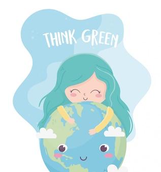 Cute girl world think green environment ecology