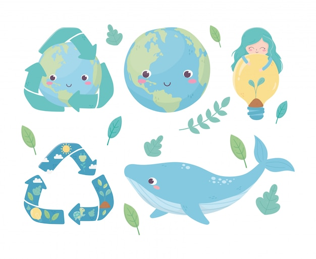 Cute girl world whale bulb recycle foliage environment ecology