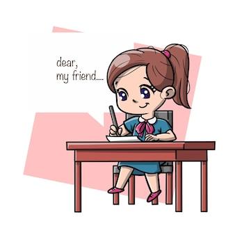 メール漫画を書くかわいい女の子