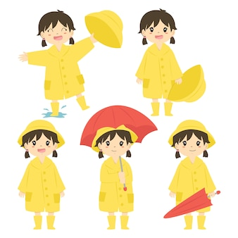 Cute girl in yellow raincoat and red umbrella vector set