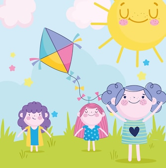 Симпатичные девушки и мальчик играют с воздушным змеем в парке, детская иллюстрация