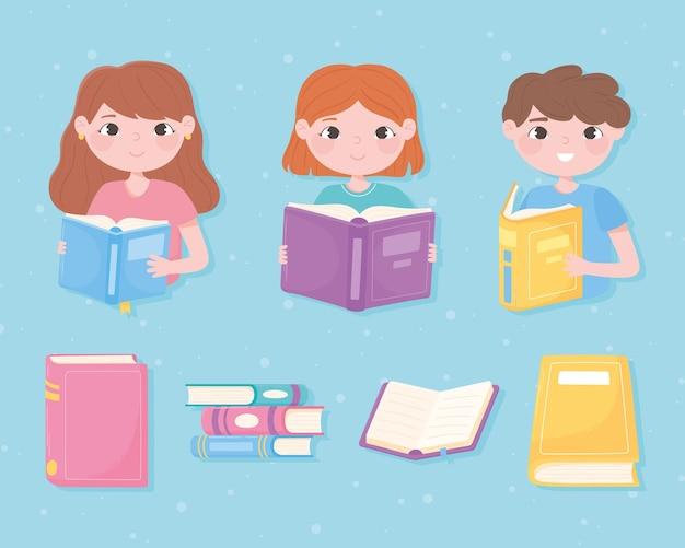 Симпатичные девочки и мальчик читают книги, изучают знания академического дизайна