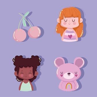 Cute girls and bear